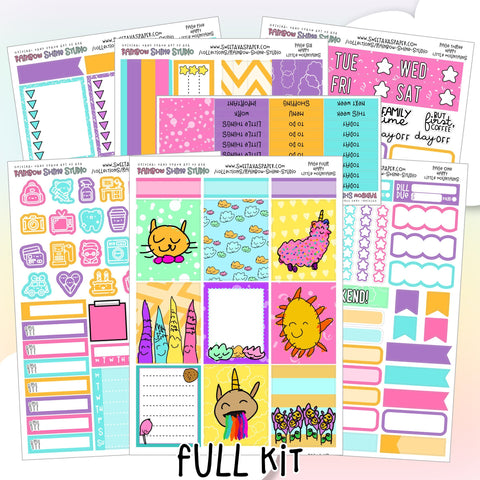 Happy Mountains Planner Sticker Kit - Cat Planner Stickers - Vertical Planner Kit - Summer Planner Stickers - Mini Kit - Full Sticker Kit
