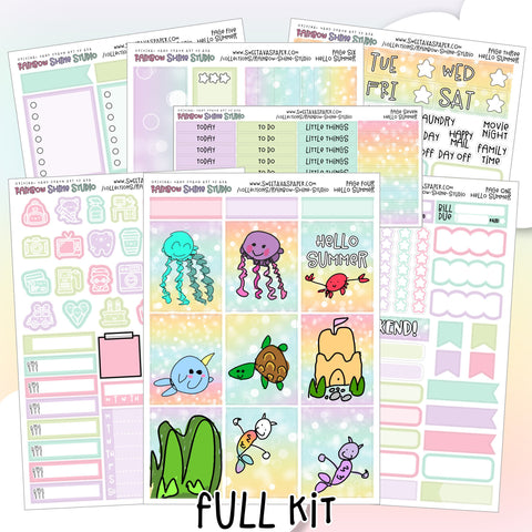Summer Planner Sticker Kit - Ocean Planner Stickers - Vertical Planner Kit - Beach Planner Stickers - Mini Kit - Full Sticker Kit