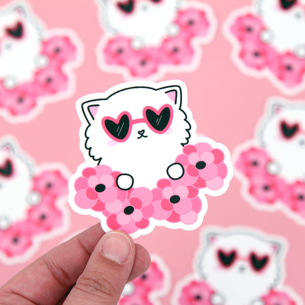 Peeking Cat Vinyl Sticker - Vinyl Die Cut Sticker - Cat Stickers - Vinyl Sticker - Vinyl Decal - Cat Decal - Valentine's Day - Floral Cat