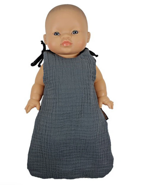 Sleeping Bag for Dolls in Cotton - Gris Anthracite