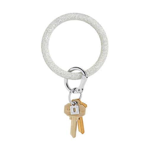 O Ring Silicone Key Ring - Silver Confetti