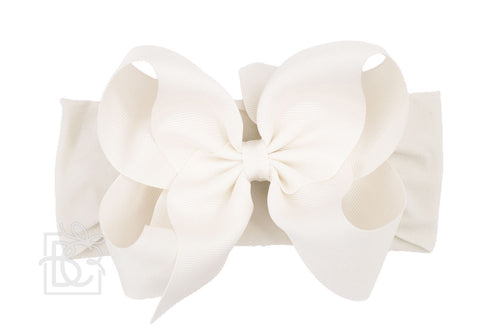 Big Antique White Headband Bow - RaineHills