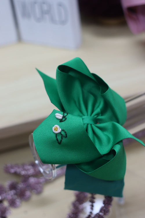 Noah Headband Bow -Green with Hand Embroidery
