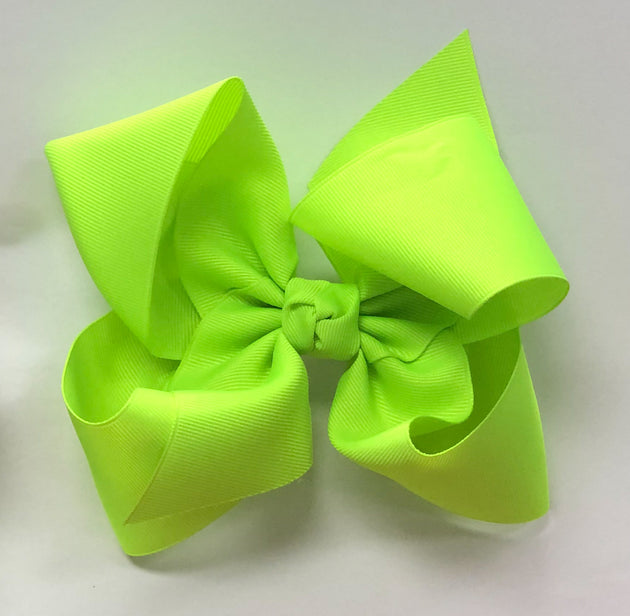 Large Bow - Neon Lime w/clip