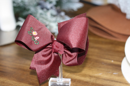 Medium Bow - Burgundy with Hand Embroidery