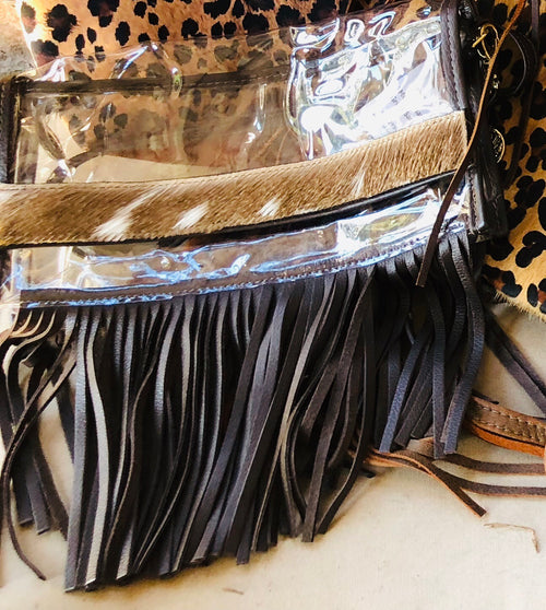 Stadium Approved Clear Axis Bags- With Fringe