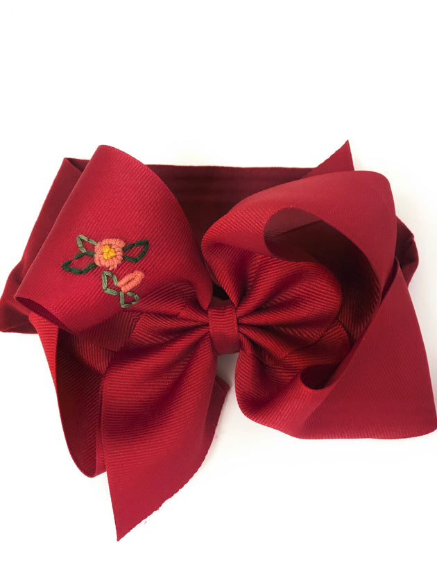 Noah  Headband Bow -Cranberry with Hand Embroidery
