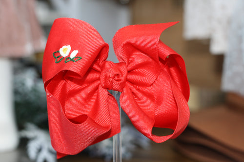 Medium Bow - Red  with Hand Embroidery