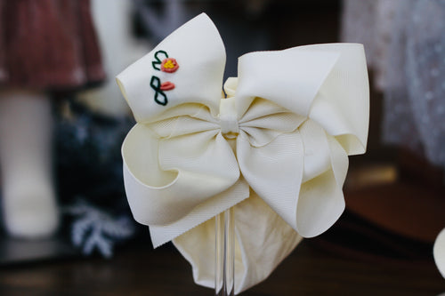 Noah  Headband Bow - Ivory with Hand Embroidery
