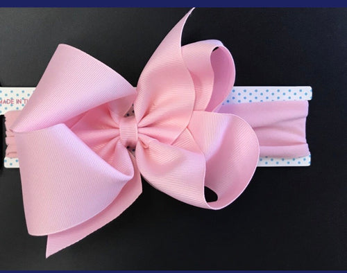 Big Light Pink headband bow - RaineHills