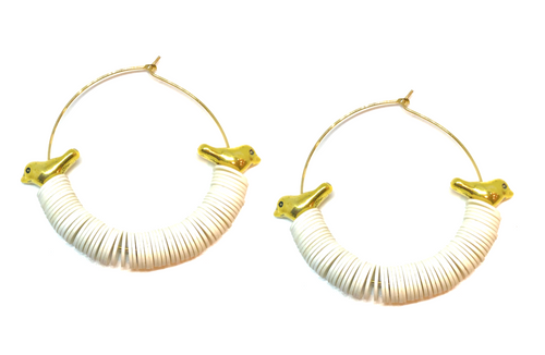 Aves Hoop Earrings - White