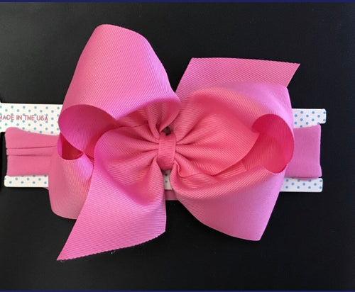 Big Hot Pink Headband Bow - RaineHills