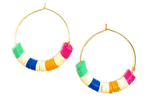 Color Block Earrings - Rainbow