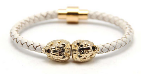 Gold Sahara White Leather Bracelet