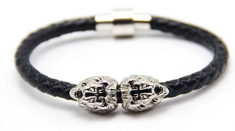 Silver Sahara Black Leather Bracelet