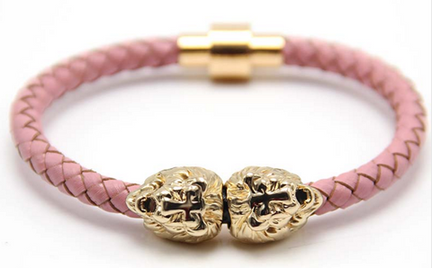 Gold Sahara Pink Leather Bracelet