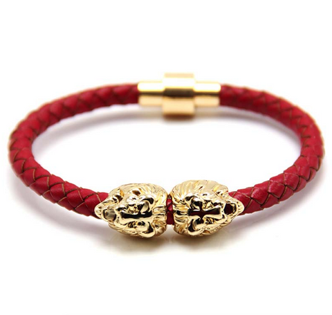 Gold Sahara Red Leather Bracelet
