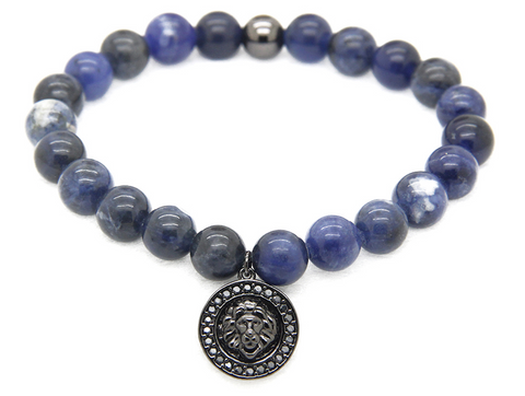 Sahara Triple Blue bracelet with Black Lion Charm