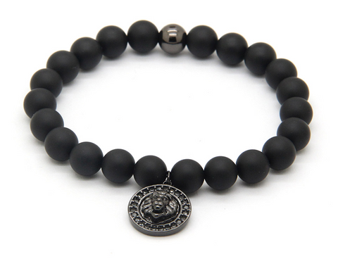 Sahara Matte Black bracelet with Black Lion Charm