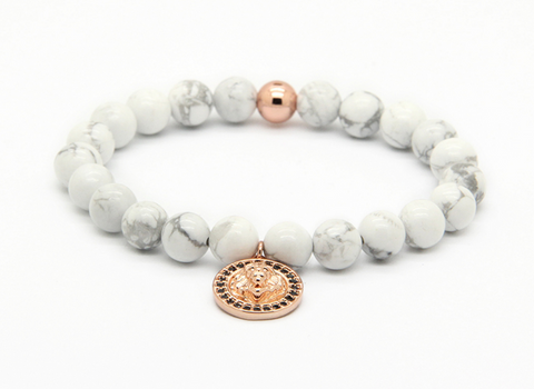 Sahara Stone White bracelet with Rose Gold Lion Charm