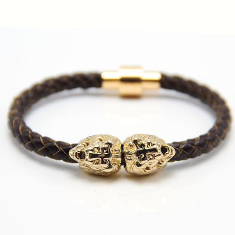 Gold Sahara Brown Leather Bracelet