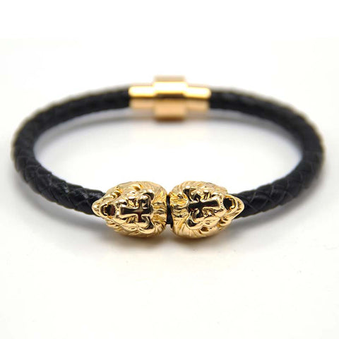 Gold Sahara Black Leather Bracelet