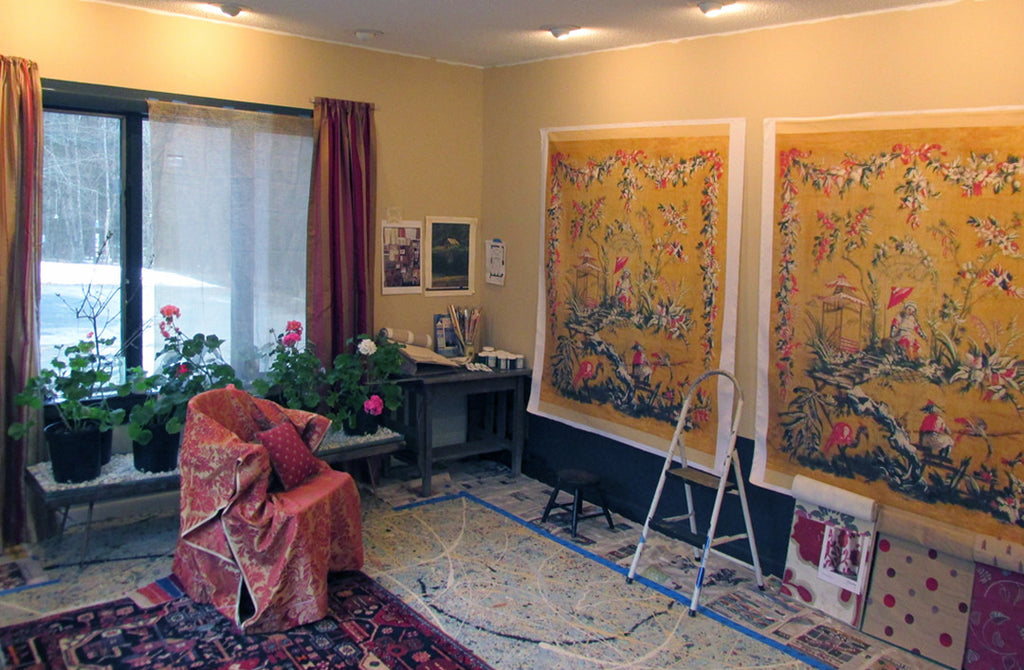 Holly Alderman Art Studio, Painting Chinoiserie for Tracey McKee
