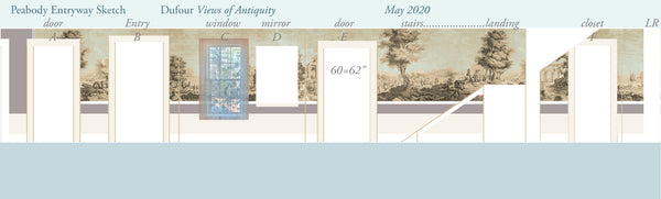 Holly Alderman Studio new Dufour wallpaper scenes, Views of Antiquity, Peabody edition 2