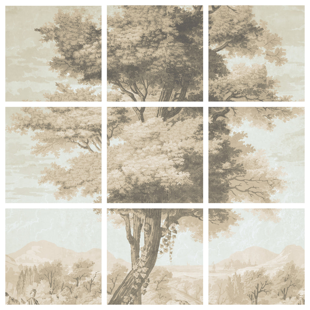 Holly Alderman WALLGAZE Wallpaper Views of Antiquity Tree matrix new Dufour sepia