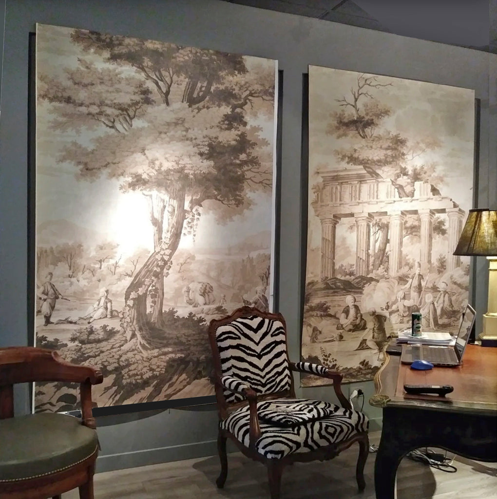 Holly Alderman Studio new Dufour wallpaper scenes, Views of Antiquity, Peabody edition