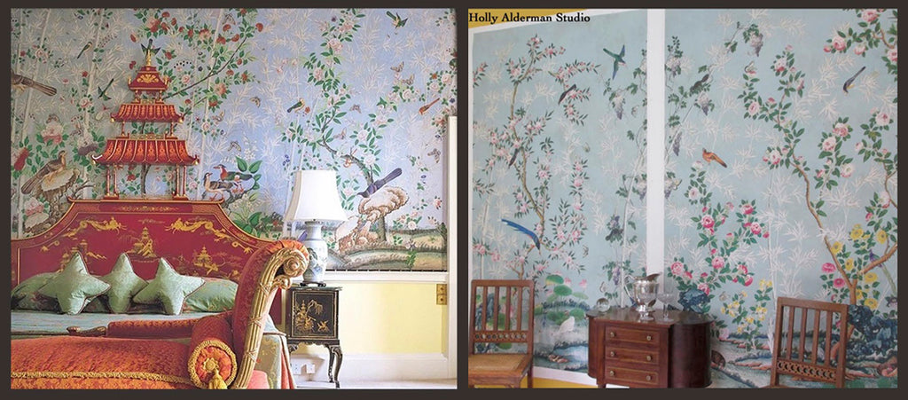 Holly Alderman, antique wallpaper Hamlen Collection, Chinoserie Prince of Wales, Brockett Hall