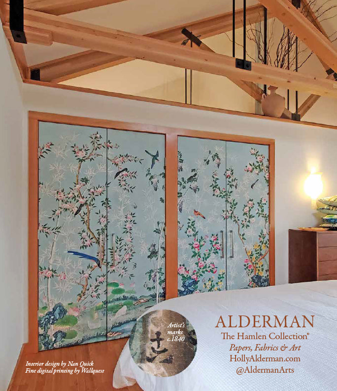 Holly Alderman Wallpaper and Fabrics Hamlen Flowers and Birds chinoiserie wallpaper by