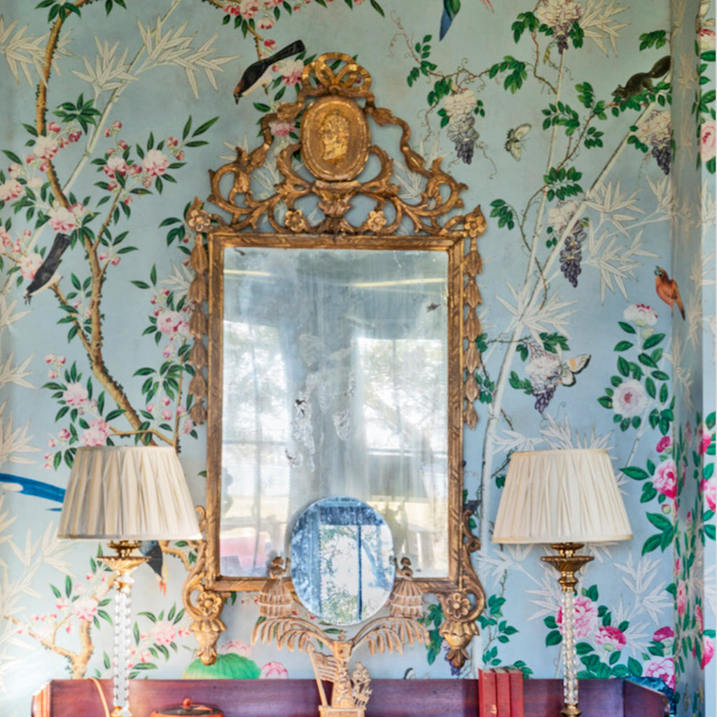 Hamlen chinoiserie panoramas with mirror in master suite Charleston by Alaina Michelle Ralph