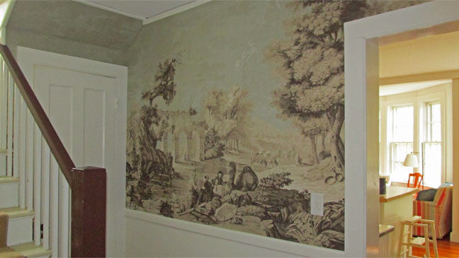 Holly Alderman Wallpaper new Dufour Views of Antiquity Dublin blue sky sepia