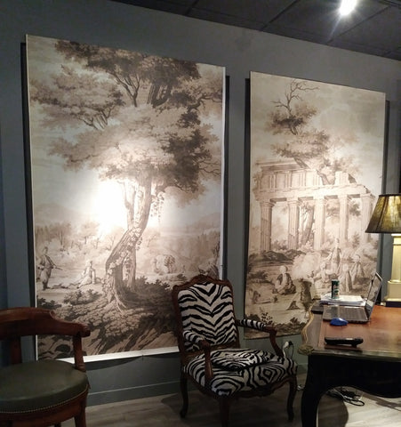 Holly Alderman Scenic Wallpaper at Bermingham & Co., NYC, Dufour Antiques Anew