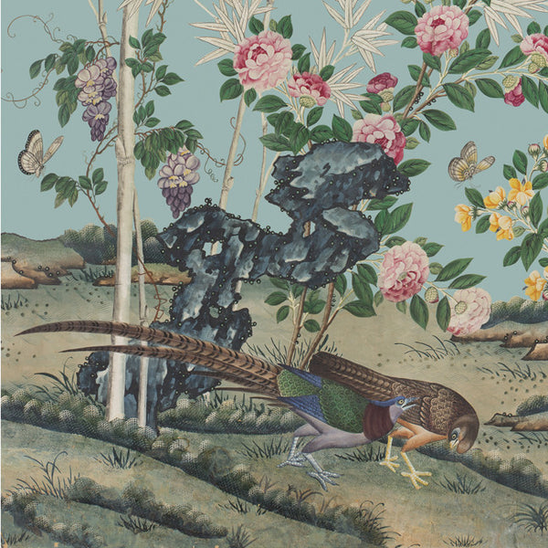 Holly Alderman Wallpaper Chinoiserie  Hamlen Collection Spring Special art square Pheasants