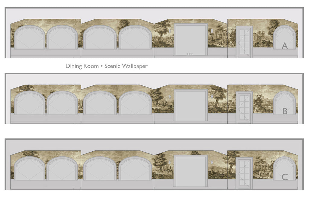 Holly Alderman WALLGAZE Wallpaper Elevations Views of Antiquity Dining Room
