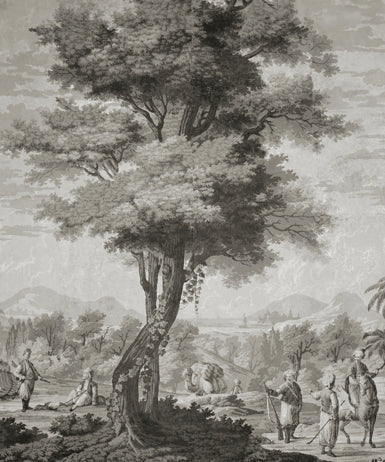 Holly Alderman Wallpaper new Dufour Views of Antiquity grisaille tall tree