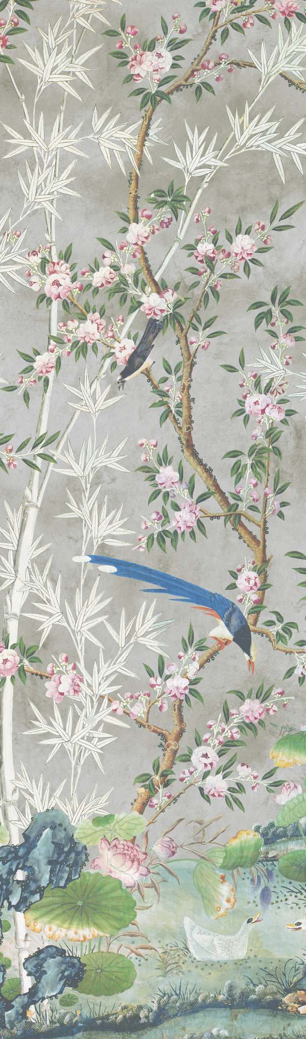 Holly Alderman WALLGAZE Wallpaper Chinoiserie Garden Hamlen Collection gray background
