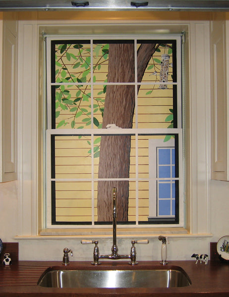 Holly Alderman hand painted window shade whimsey, Junior League of Boston Show House, Concord