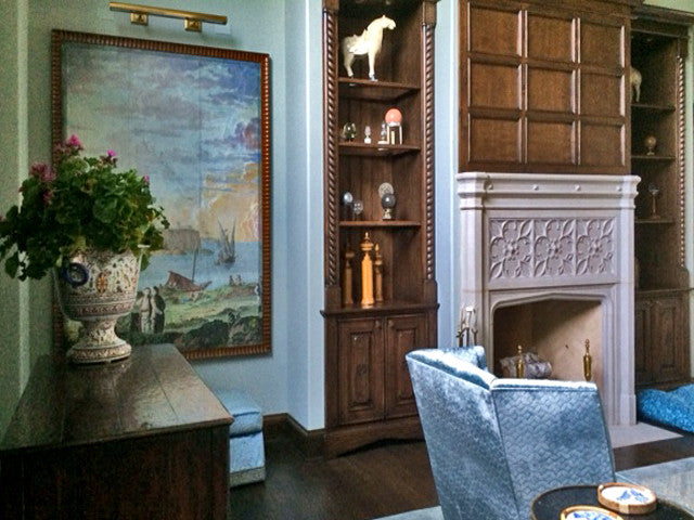 Holly Alderman WALLGAZE Wallpaper new Dufour Views of Antiquity grisaille blue sky Smyrna Hand Painted