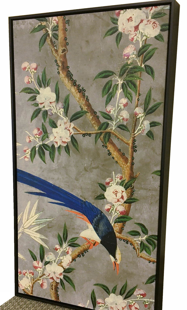 Holly Alderman WALLGAZE Wallpaper Chinoiserie Garden The Hamlen Collection gray background framed print