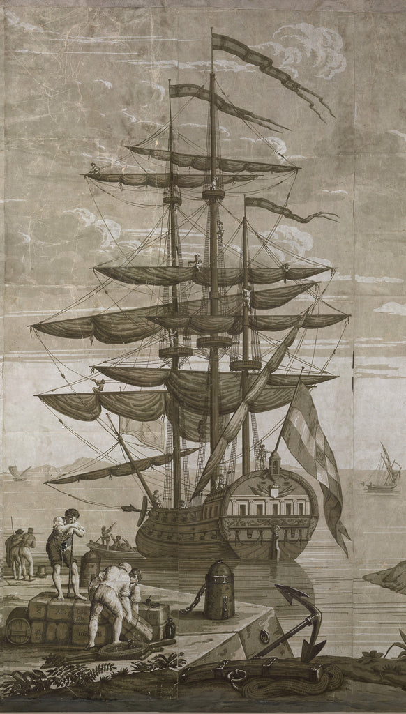 Holly Alderman WALLGAZE Wallpaper Views of Italy Tall Ship The Cay Collection new Dufour original sepia