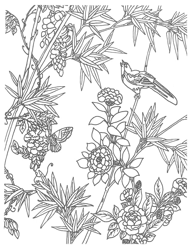 Chinese Garden Coloring Pages, Flowers and Birds drawing to color by Holly Alderman Hamlen Collection