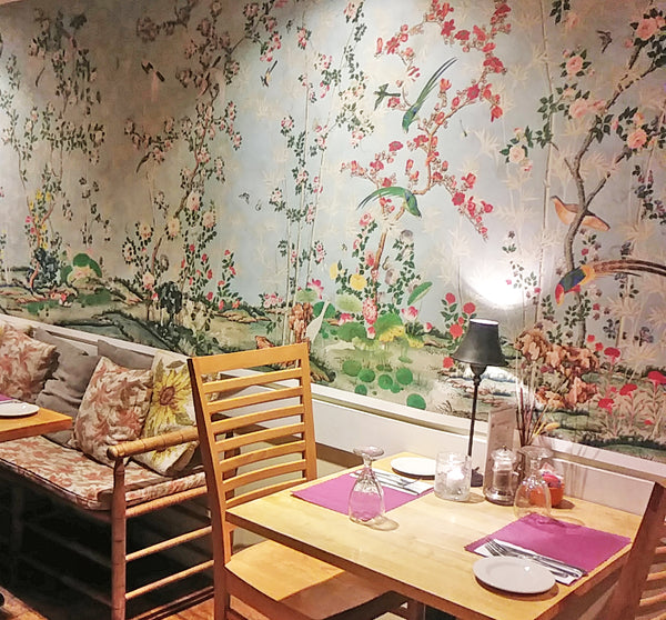 Holly Alderman shows the Hamlen Collection antique wallpaper at Sunflowers Cafe