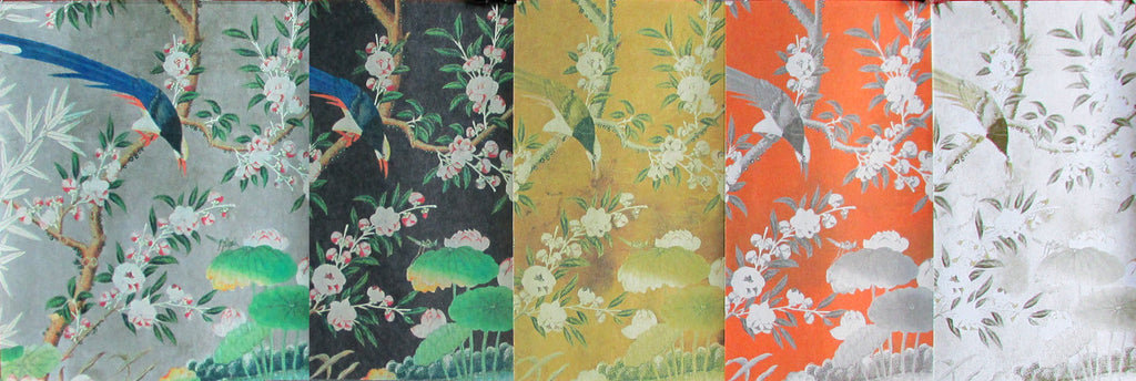 Holly Alderman Wallpaper Scenes Chinoiserie Gardens The Hamlen Collection Colors Gray, Charcoal, Apricot, Gold, Tan