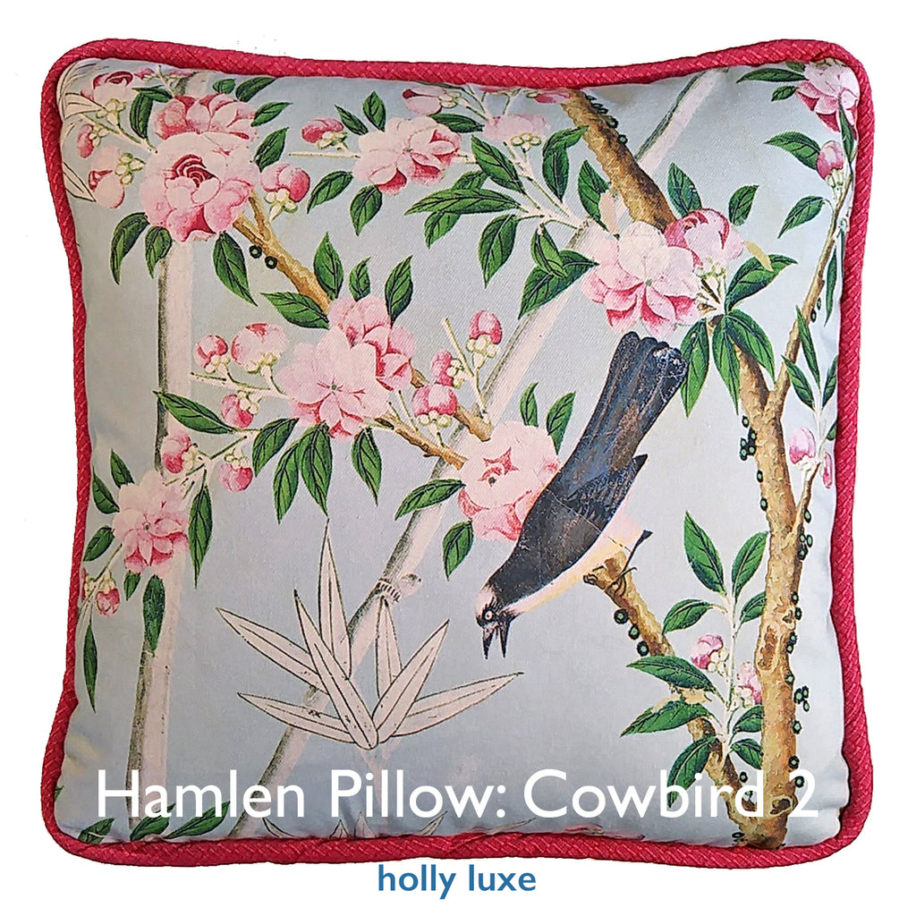 Pillow, Chinoiserie Cowbird 2