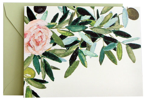 Olive Leaf & Rose Fold Note | Set of 10