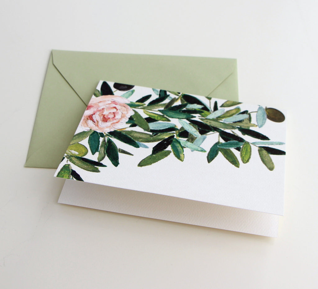 Fold Notes | Olive Leaf & Rose