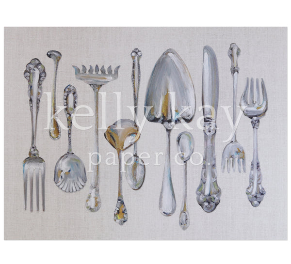Art Print | Sterling Flatware Lined Up